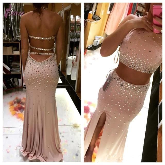 Crystal Two Piece Mermaid Prom Dresses Formal Long Evening Cocktail Party Gown