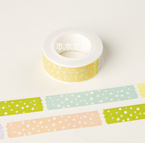 JG418  1.5CM Wide Multicolor Dots Washi Tape DIY Scrapbooking Sticker Label Masking Tape School Office Supply