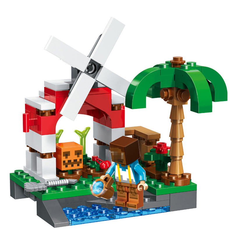 Minecraft My World Building Blocks Village River Figures Toys For Children Compatible Legoe Minecraft Christmas Brinquedos Gift new 4pcs set minecraft sword espada models figures my world building blocks model set figures compatible toys for kids