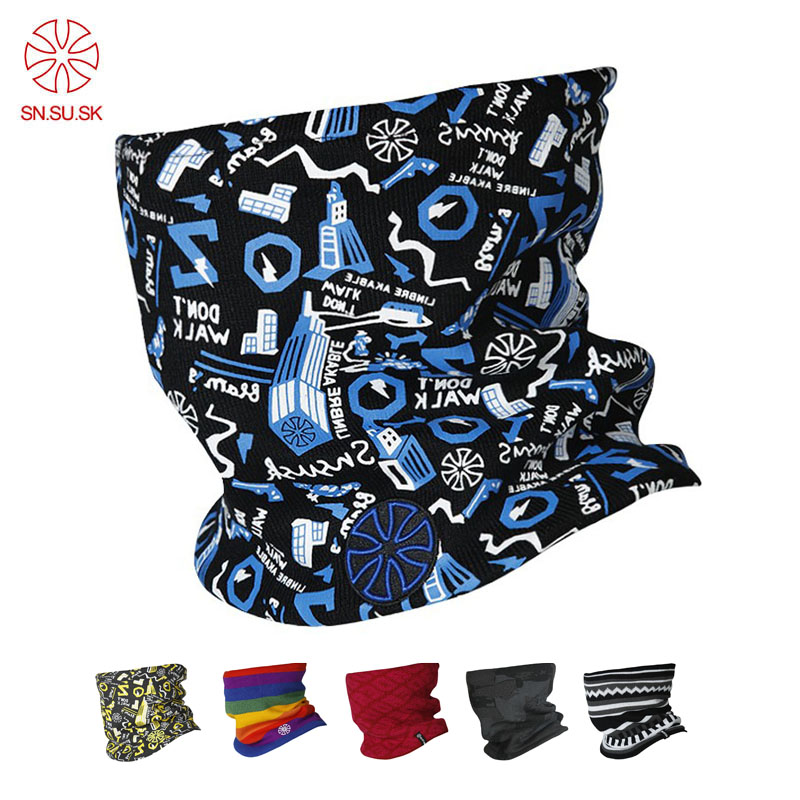 Unisex Winter Outdoor Sport Men Double-deck Polar Fleece Windproof Knitting Face Mask Ski Bicycle Loop Scarf Male Warm Neck