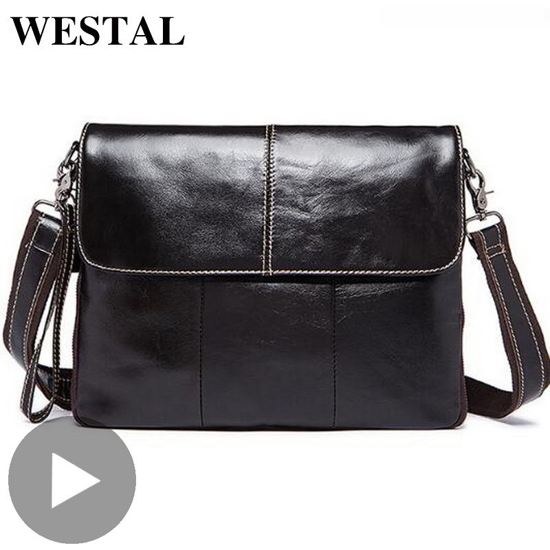 Westal Portable Tablet Business Shoulder Messenger Women Men Bag Genuine Leather Briefcase For Document Work Handbag Male Female