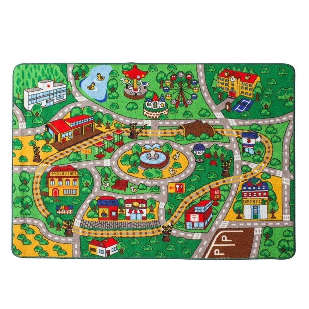 Tapis pour enfants carte de rue avec tapis de jeu amusant pour la route tapis pour chambre salle de jeux et pépinière-support en Gel antidérapant (39