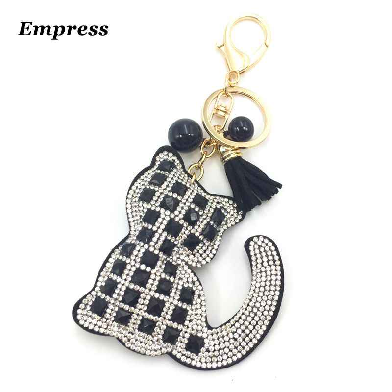 55c5037ccbcf Crystal Rhinestone leather Cat Keychain leather tassel pendant Souvenir  Gifts Couple Key Chain Key Ring Hang