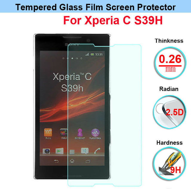 Top quality Tempered Glass Anti Shatter Screen Protector For Sony Xperia C S39h C2305 2305 Ericsson S 39H Protective Film case