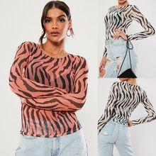 Women Blouse 2019 Fashion Ladies Zebra Print Transparent Mesh Sheer Tops Slim Blouse Blusas Femininas tiered mesh sheer blouse