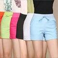 Plus Tamaño 6XL 5XL Cordón Pantalones Cortos de Cintura Elástica de Las Mujeres De Lino de Algodón de Verano Caliente Azul Verde Rosa Negro Naranja Blanco