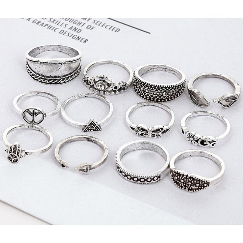 XIYANIKE 12pcs/Set Vintage Knuckle Palm Butterfly Finger Ring Set for Women Femme Fashion Antique Silver Midi Boho Jewelry R100