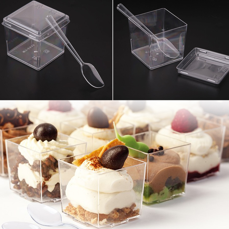 50Pcs/set Transparent Disposable Plastic Cup/Lid/Spoon Party Wedding Birthday Supplies Disposable Plastic Tableware Dessert Cup