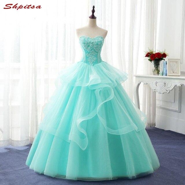 0271d466d Vestidos de quinceañera verde menta para fiesta de graduación dulces 16  vestidos de baile de disfraces