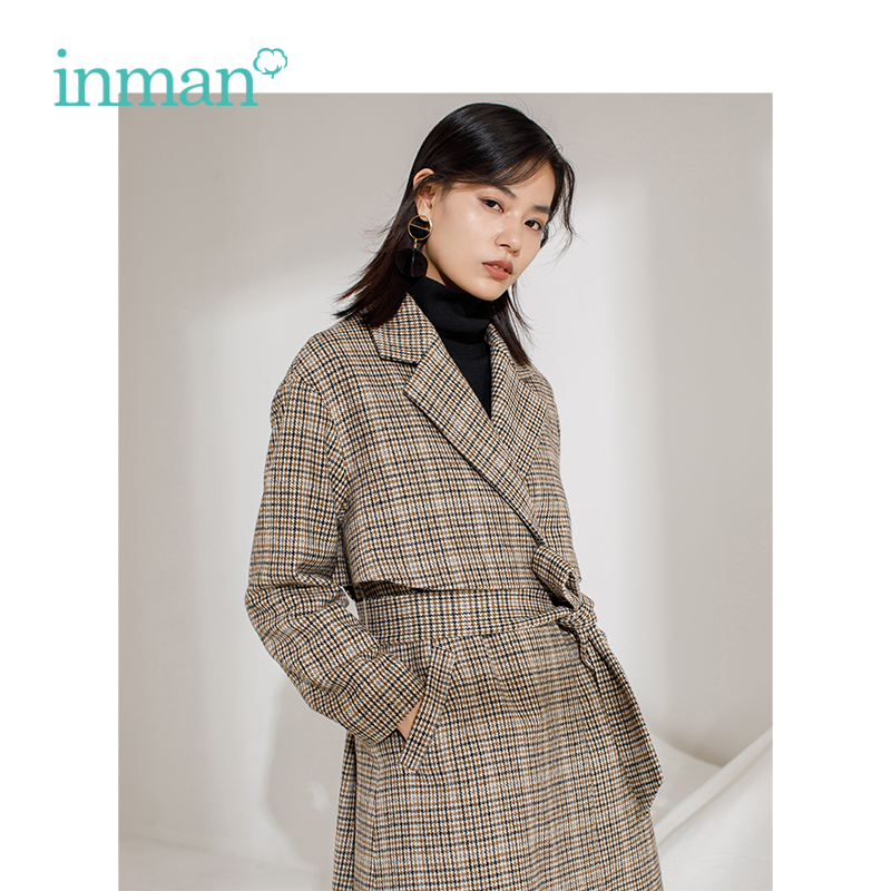 INMAN Winter New Arrival Female Lapel With Belt Lattice Long Section Woolen Women Coat