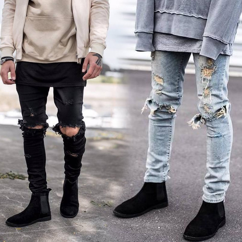 Newly 2017 Fashion Men Denim Pants   Jeans   Ripped Holes Skinny Elastic Slim Fit Cool Punk Long Trousers