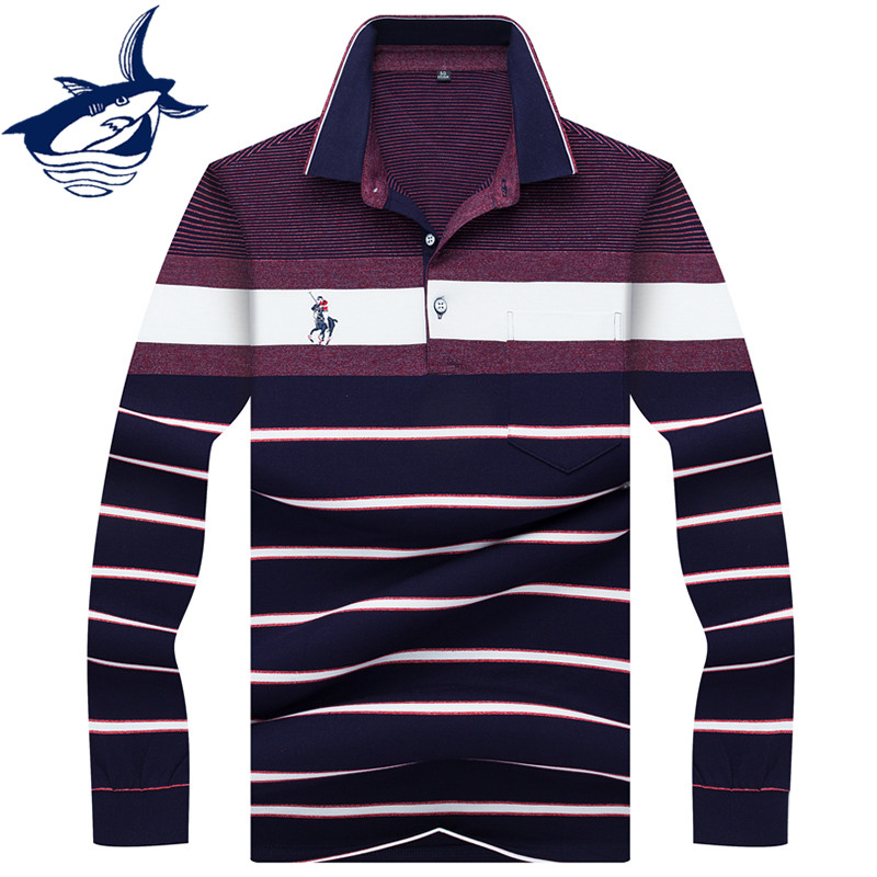 Casual   polo   long sleeve men High Quality Cotton Striped Brand Tace & Shark   polo   shirts 2019 New Men Clothing Business Style