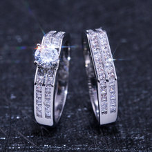 2pcs Luxury Clear AAA+ Cubic Zirconia Enagement Rings for Women White Gold Color Wedding Bands Jewelry 2019 New Arrivals