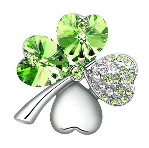 Austrian Crystal four leaf clover Brooch romantic cute fashion jewelry accessories free shipping charms women girl lover quality(China)