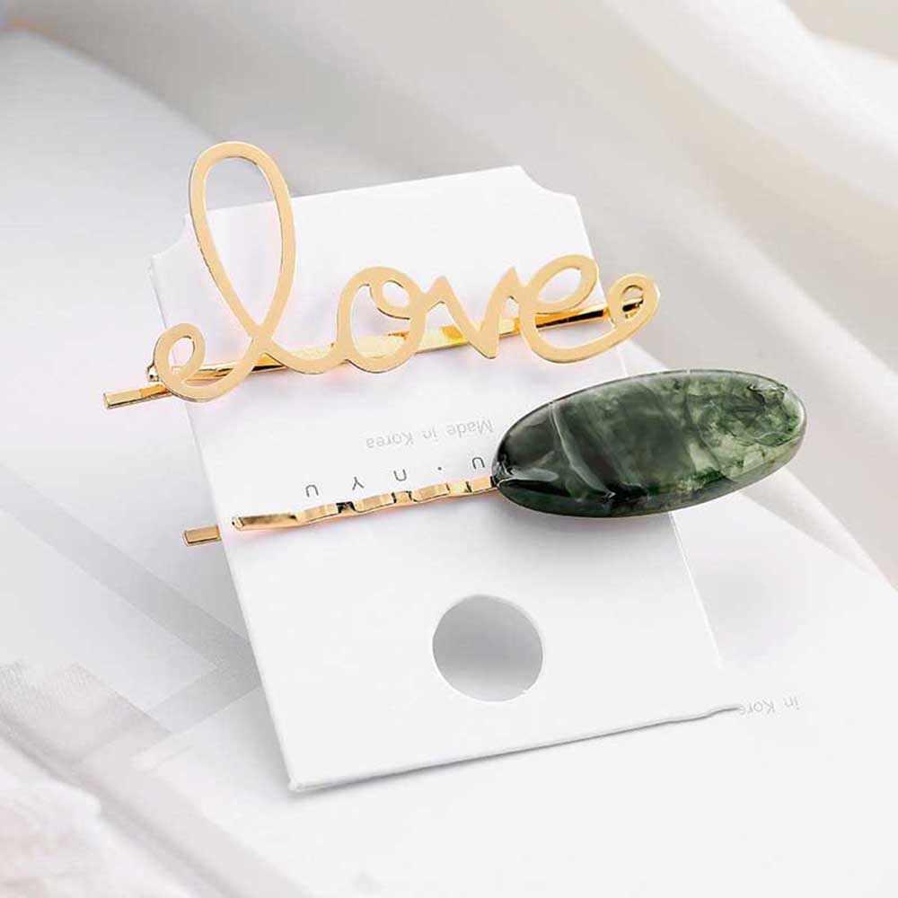 2 Pcs/set Korea Jepang Logam Emas Mutiara Huruf Asetat Jepit Rambut untuk Wanita Gadis Pesta Pernikahan Rambut Aksesoris Perhiasan Dropship