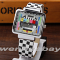 Paidu Multicolor Quartz Black and white square Leather Band Wrist Watch Mens Boy Turntable Dial Digital Gift Wristwatches