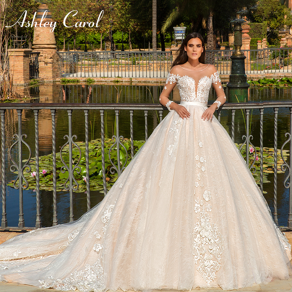 Ashley Carol Sexy Sweetheart Illusion Backless Lace Wedding Dress 2019 Appliques Long Sleeve Chapel Train Princess Wedding Gowns