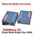 1 Par HTB-GS-03 A/B Fibra Óptica Media Converter 1000 Mbps Gigabit Monomodo Fibra simple SC Puerto 20 KM fuente de Alimentación Externa