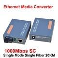 1 Par HTB-GS-03 A/B Fibra Conversor de Mídia Óptica 1000 Mbps Gigabit Fibra Monomodo Único SC Porto 20 KM de fonte de Alimentação Externa
