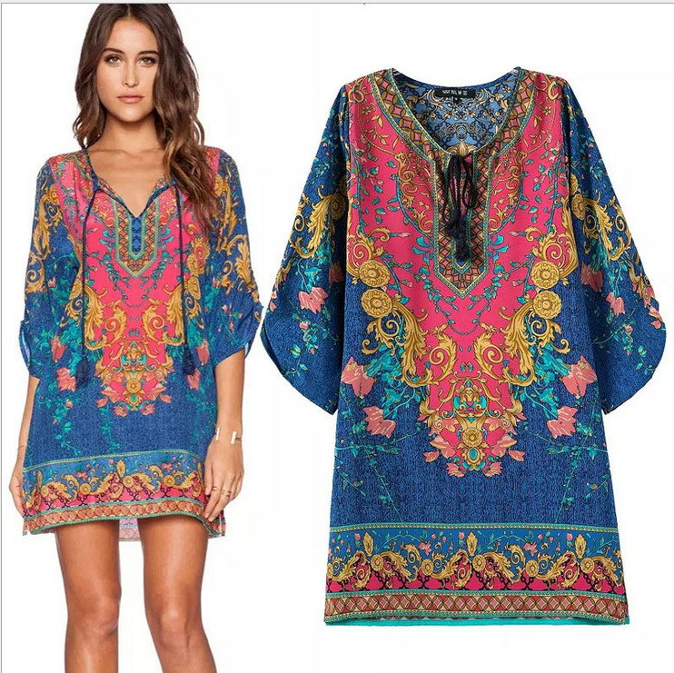2016 New Summer Casual Bohemian Dress Tunics Short Sleeve -9947