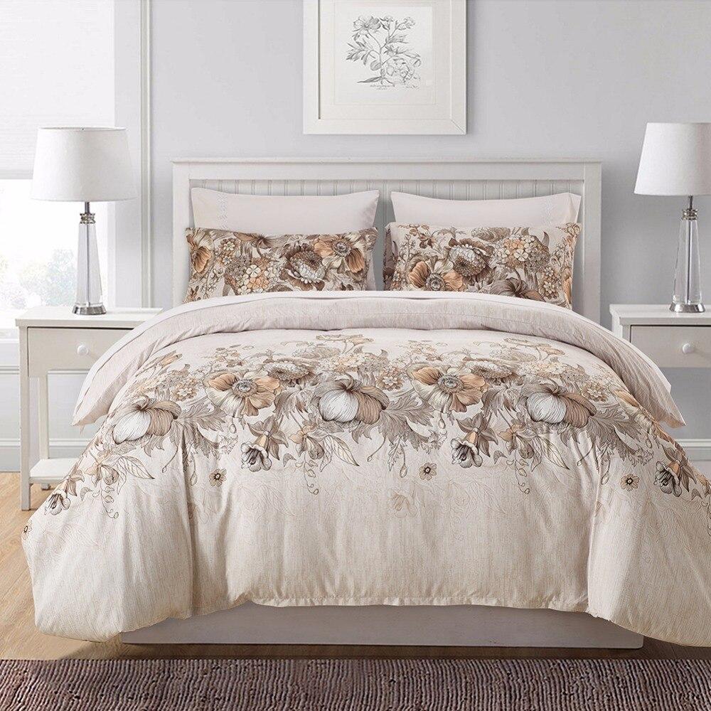 Elegant Floral Duvet Cover Set Microfiber Fabric Bedding Set Twin Queen King Size Bed Linen 2/3pcs Single Double Bed Set