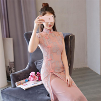 2019 Lace modern ao dai long dresses Women fashion Traditional vietnam style cheongsam modified chinese stand collar dress