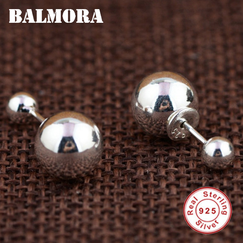 BALMORA Double Ball Earrings 925 Sterling Silver Classic All-match Stud Earrings for Women Lover Gifts Party Jewelry SY31515