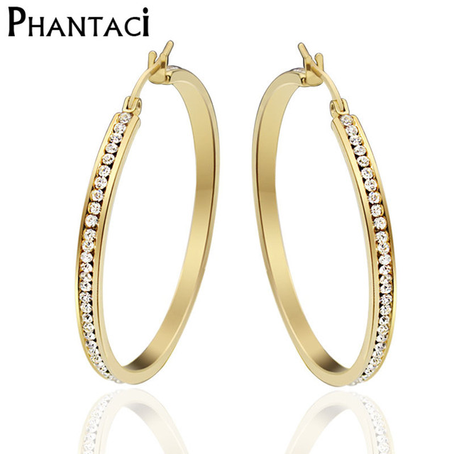 1pair Large Hoop Earrings For Women Gold Color Pave Stones Stainless Steel Brincos Crystal