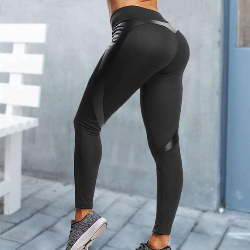 0d27ff77b2e82 ... Black Faux Leather heart Leggings Sexy Women High Waist Fitness Leggins Push  Up Female Gyms Workout ...