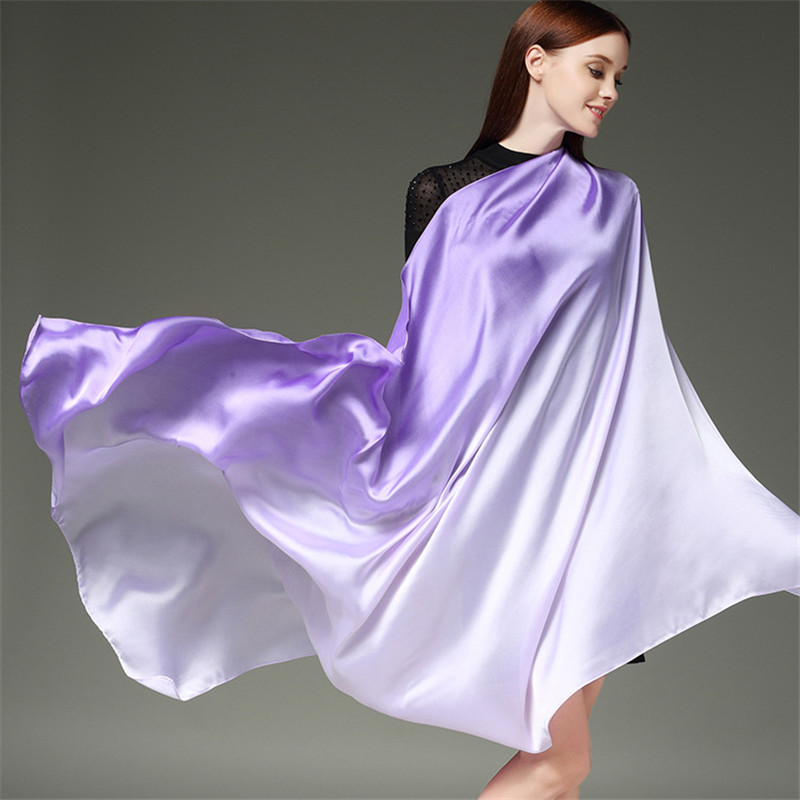 110*190cm Luxury Silk Scarf Women Long Gradient Color Beach Shawl And Wraps Foulard Femme Scarves For Ladies Female Pashmina