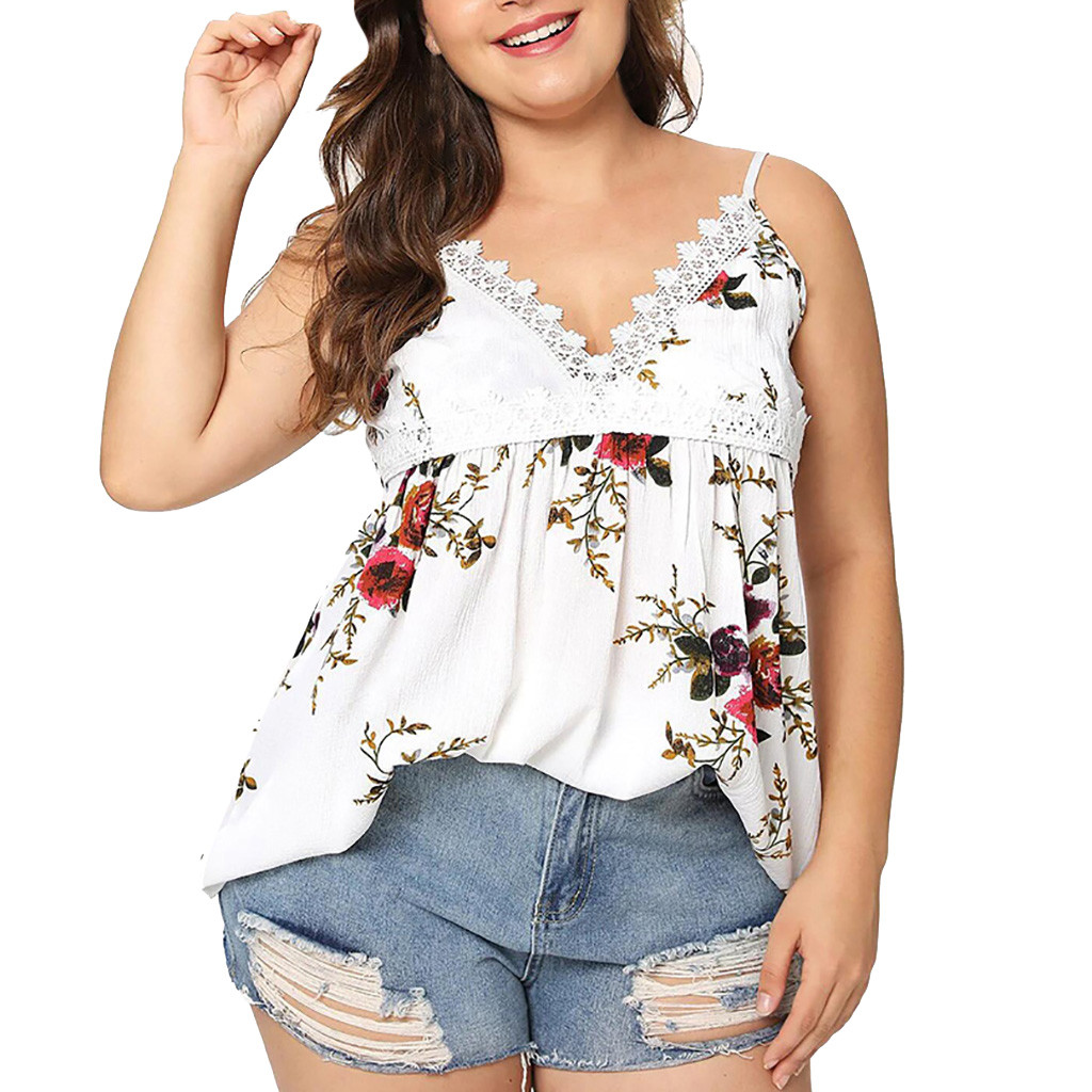 Women's Clothing Blouse Women Streetwear Fashion Women Casual V-neck Sleeveless Plus Size Printing Tank Tops Vest Camis Roupa Feminina #ce4 Waterproof Shock-Resistant And Antimagnetic