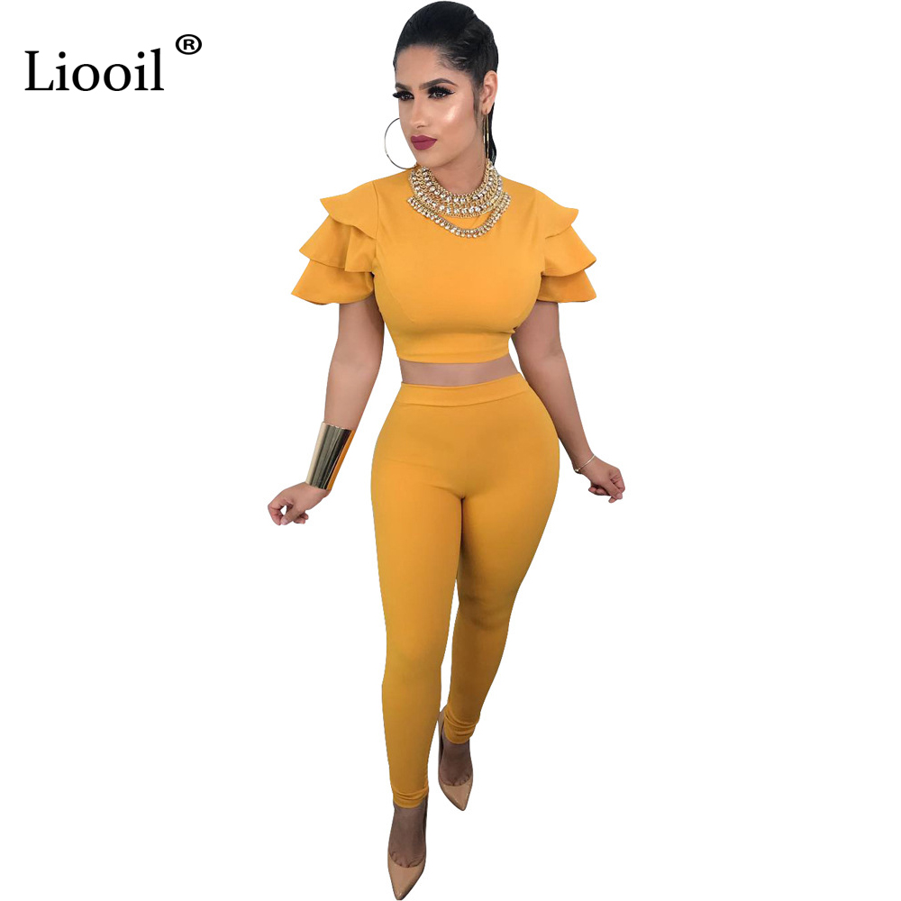Liooil Butterfly Sleeve Rompers Womens   Jumpsuit   Summer Short Sleeve Bodycon Two Piece Set Female Overalls Sexy Party   Jumpsuits