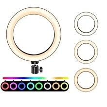 Светодиодный кольцевой светильник для селфи, 6 дюймов, кольцевая лампа для макияжа/прямого потока/видео камеры YouTube с регулируемой яркостью RGB 2, модель 11 цветов