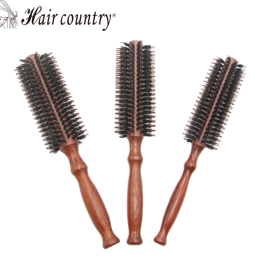 Roll Round Comb Brush Hair Care Tool Wood Handle Natural Bristle Curly Hair Brush Fluffy Comb