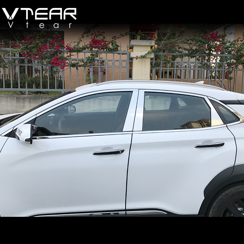 Vtear For Hyundai Kona Encino 2018 car Full Window Trim Decoration Strips Cover Stainless Steel Exterior accessories car Styling stainless steel full window trim decoration strips for ford focus 3 sedan 2012 2013 2014 car styling car covers 20