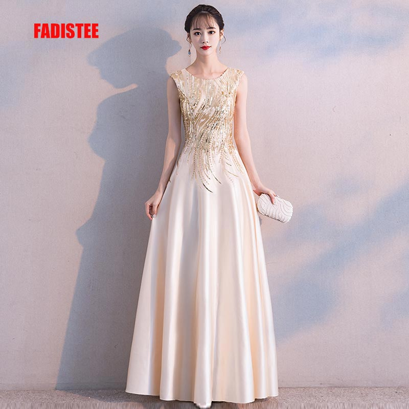 FADISTEE New Arrival Luxury Party Dresses Evening Dress Vestido De Festa A-line Gold Sequins Sleeveless Prom Lace Long Style