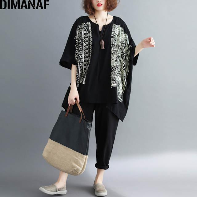 e413019b43a Online Shop DIMANAF Women Summer Blouse Shirts Plus Size Linen Print Female  Loose Tops Vintage Casual Batwing Oversized Clothing 100KG Fit   Aliexpress  ...