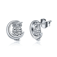 Unique 100 Real Pure 925 Sterling Silver Pated With Gold Earring Stud Lovely Owl Earring Women