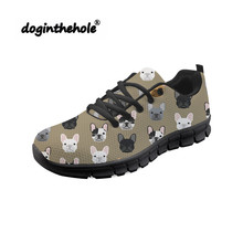 цены Doginthehole Women Walking Shoes French Bulldog Printing Sport Shoes Woman Fitness Mesh Sneakers Lightweight Chaussure Femme
