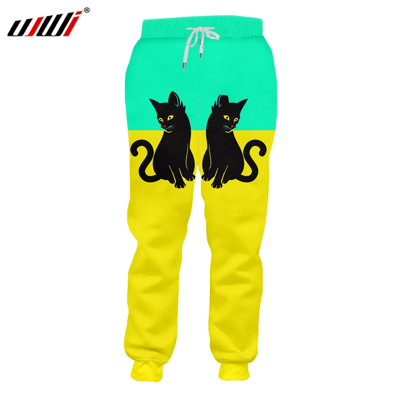 UJWI Man New Lovely Animal Sweatpants 3D Printed Cat Best Selling Green Yellow Stitching Wholesale Personality Men's Pants