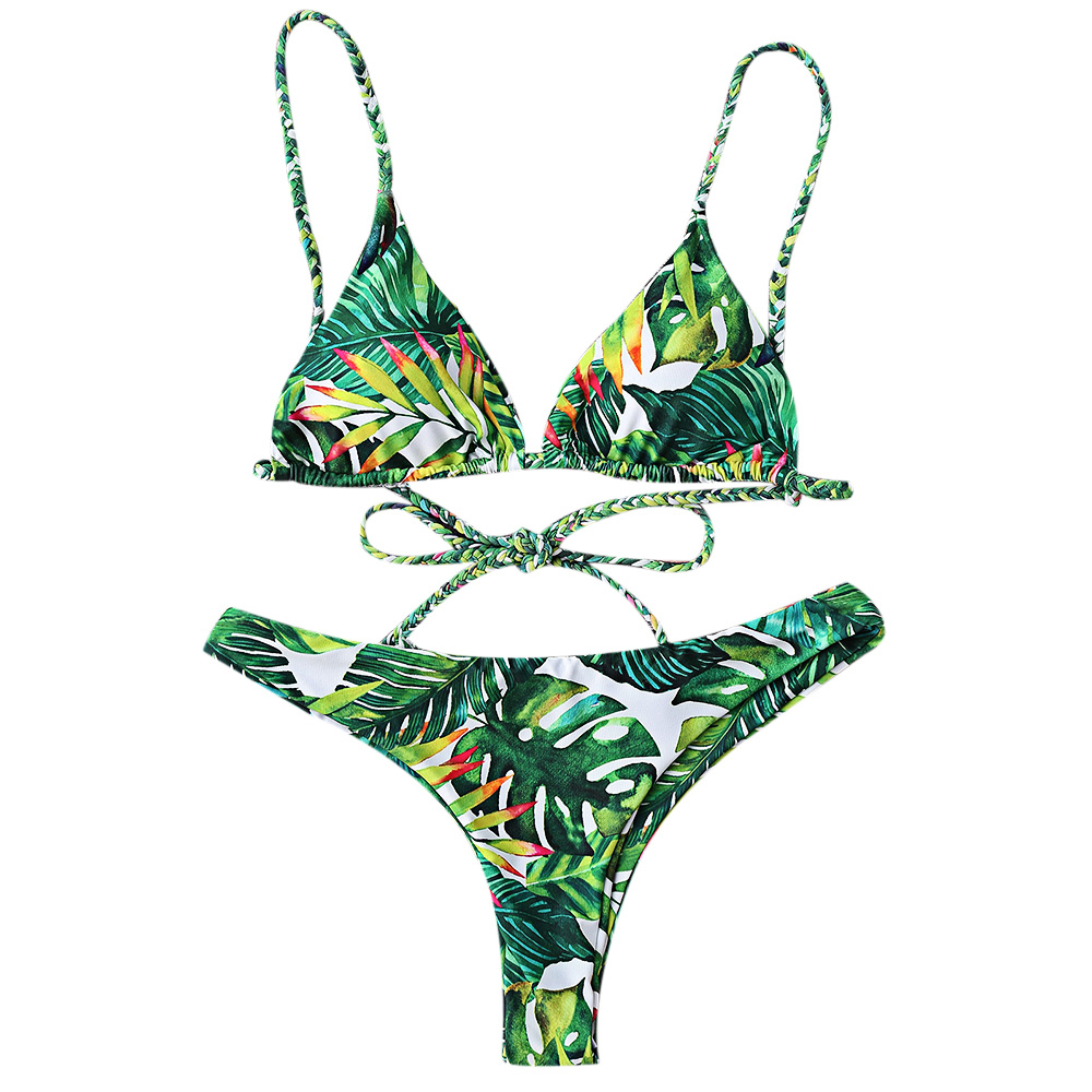 LANGSTAR 2018 Bikini Set Tropical Print Bathing Suit Bandage Brazilian Bikini Women Swimwear Swimsuit Biquinis maillot de bain new sexy swimwear women bikini set halter unpadded bra tankini two piece high neck print swimsuit bikini 2017 maillot de bain