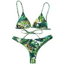 LANGSTAR 2018 Bikini Set Tropical Print Bathing Suit Bandage Brazilian Bikini Women Swimwear Swimsuit Biquinis maillot de bain