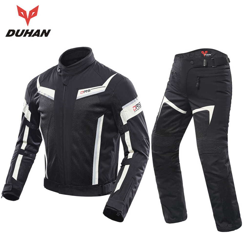 DUHAN Men Motorcycle Jacket Moto Motorcycle Pants Suit Protective Gear Spring Summer Breathable Mesh Touring Clothing Set Armor