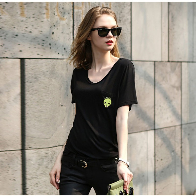 HTB1apdwOFXXXXcrapXXq6xXFXXXb - Casual Lady T Shirt Printed Pocket Cat Top Cute Tee S-4XL