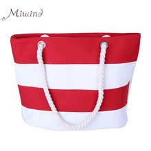 2017 Women Bag Handbags Summer Over Shoulder Tote Sling Canvas Stripe Shopping Big Casual Female Bolsas Black White High Quality