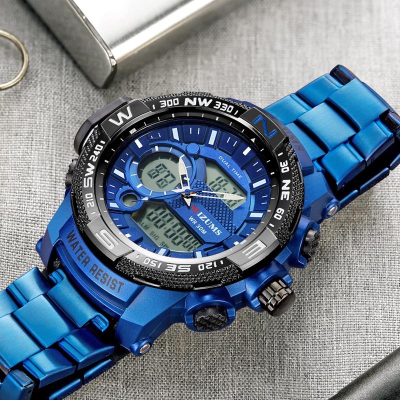 2019 MIZUMS famous fashion luxury men Japanese movement quartz wrist watches male business waterproof led dual time cool clocks