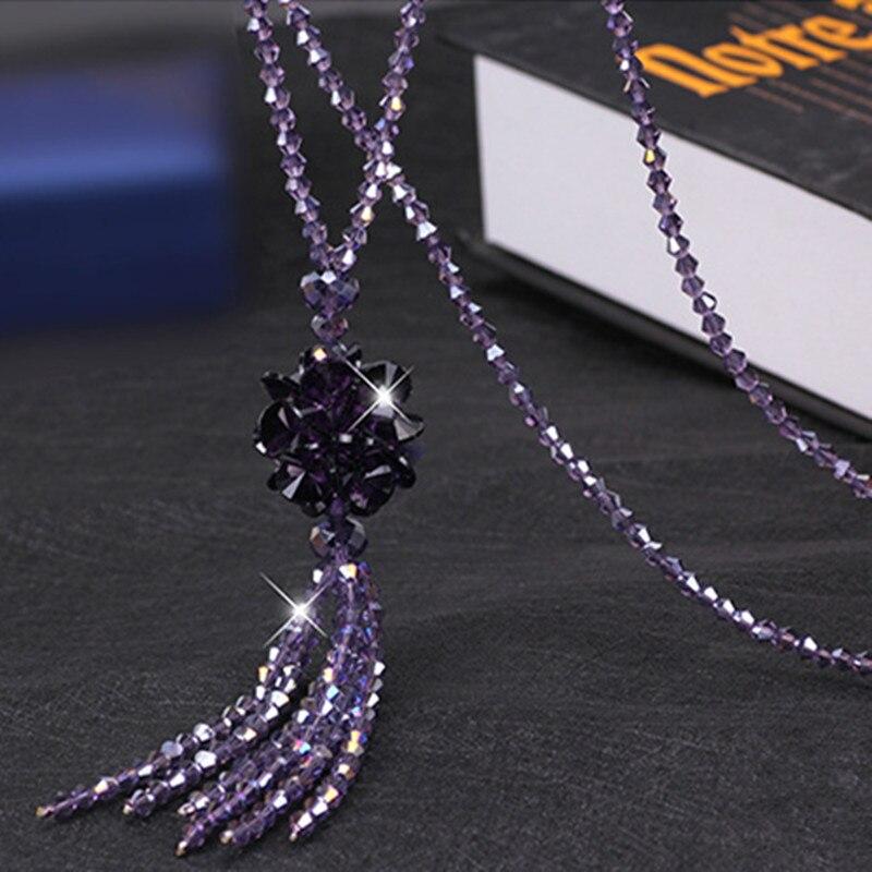 Heeda корейское длинное ожерелье с хрустальными бусинами для женщин, осенне-зимний свитер Джокера, цепочка, мода, Kpop, подвеска с кисточкой, украшение на шею - Окраска металла: Purple