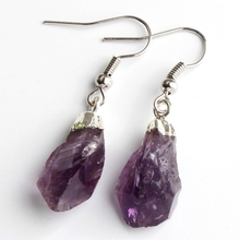 wholesale 10Pair silver natural amethyst Quartz Crystal precious stone amorphous Earring elegant womens earring