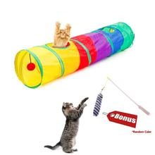 Fat Rainbow Cat Tunnel With Extra Gift, Toys Collapsible Pet Play Multicolor Tube Toy for Cats Puppy Kitty cat toy game