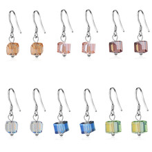 Everoyal Charm 925 Sterling Silver Earrings For Girls Accessories Female Fashion Crystal Square Blue Drop Women Jewelry